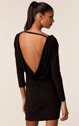 Milly Black Backless Short Dress With Long Sleeves by Honor Gold Product photo
