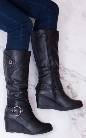 Karloa Biker Wedge Heel Knee High Tall Boots   Black Leather Style by SpyLoveBuy Product photo
