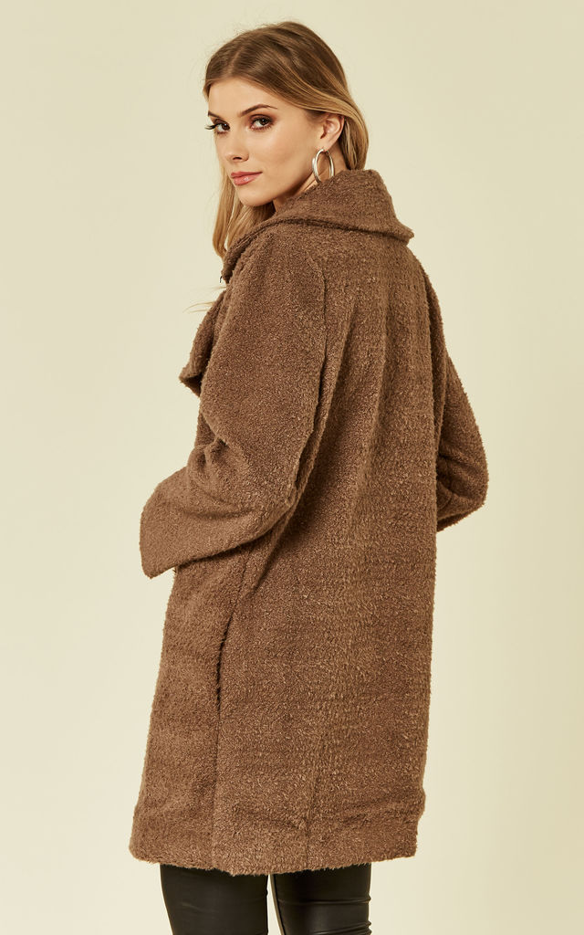 Brown teddy fur coat by Another Look