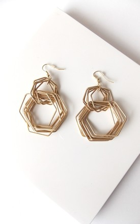 Gold Hexagonal Hoop Drop Earrings by Olivia Divine Jewellery