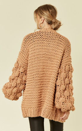 Knitted Cardigan with Oversized Sleeves in Beige by CY Boutique