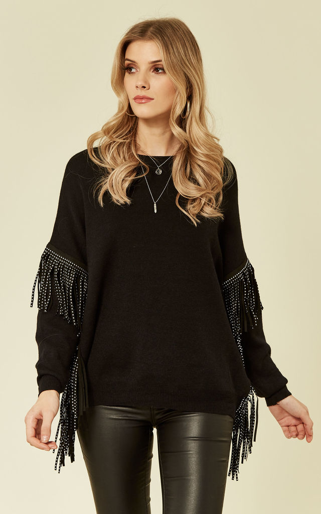 Jumper with Faux Leather Tassel Sleeves in Black by CY Boutique