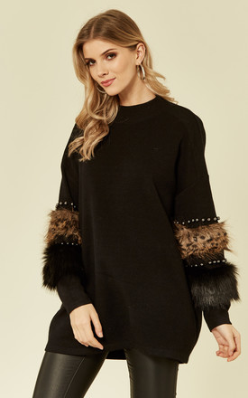 Jumper with Leopard Print Faux Fur and stud embellished sleeves in Black by CY Boutique