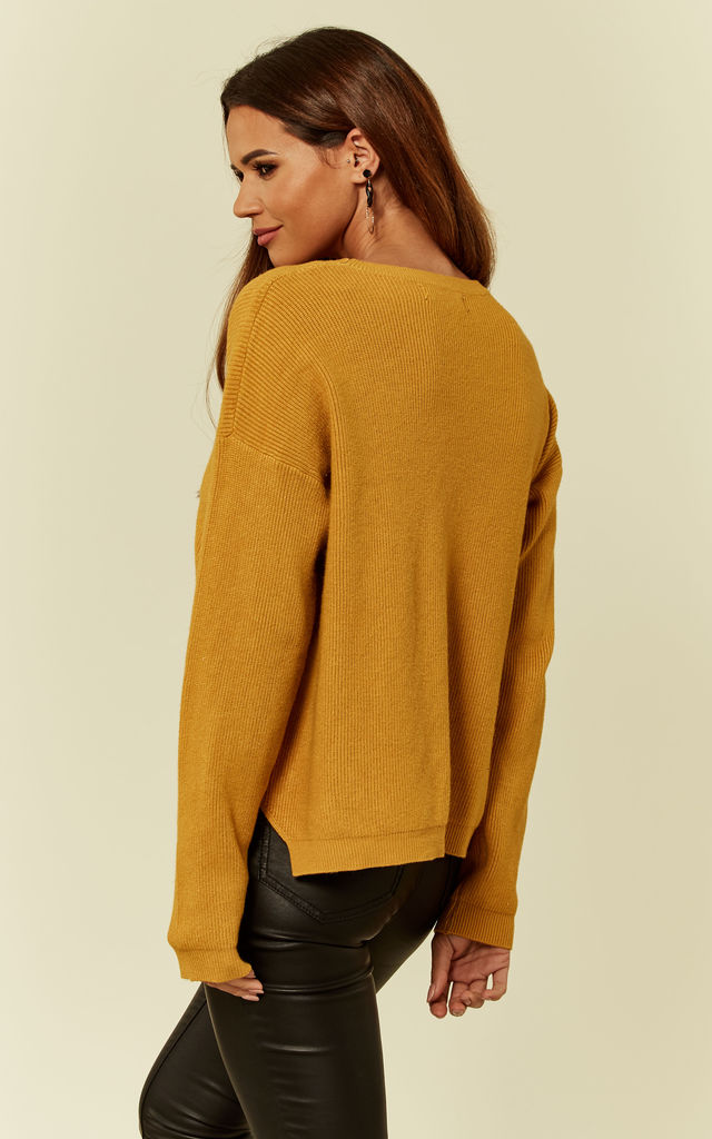 Mustard Yellow Knitted Long Sleeve Button Jumper by ANGELEYE