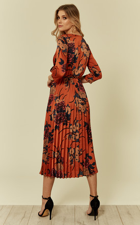 Satin Tan Floral Pleated Midi Dress with Long Sleeves by Liquorish