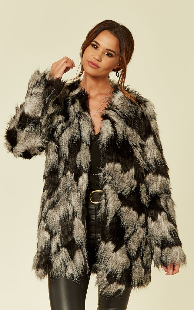 Faux Fur Jacket Patch Work Grey and Black by ANGELEYE