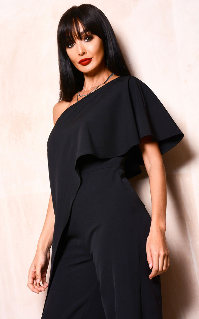 Black One Shoulder Frill Jumpsuit by Lady Flare