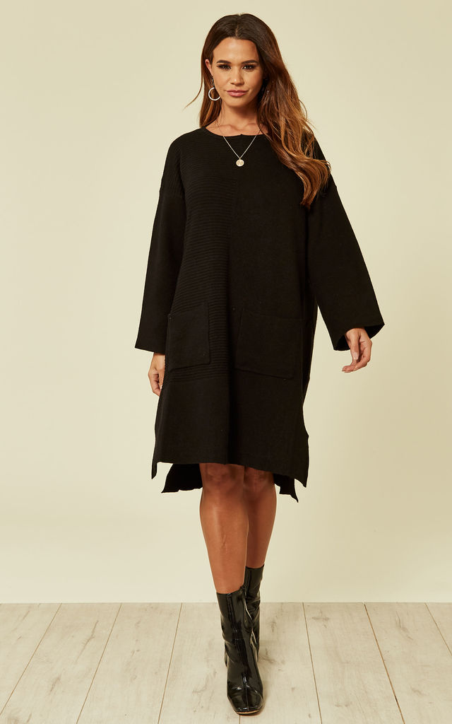 Oversized Knitted Ribbed Jumper Dress in Black by CY Boutique