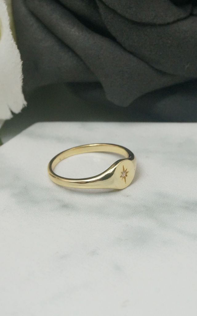 GOLD PLATED STARBURST SIGNET RING by EPITOME JEWELLERY