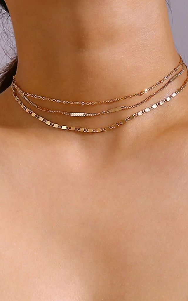 Layered Silver Chain Choker by HAUS OF DECK