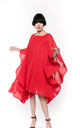 Party Dress with Oversized Statement Sleeves in Red by CY Boutique