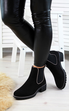 Black Suede Studded Ankle Boots by Larena Fashion