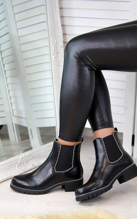 Black Studded Ankle Boots by Larena Fashion