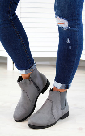 Grey Casual Flat Ankle Boots by Larena Fashion