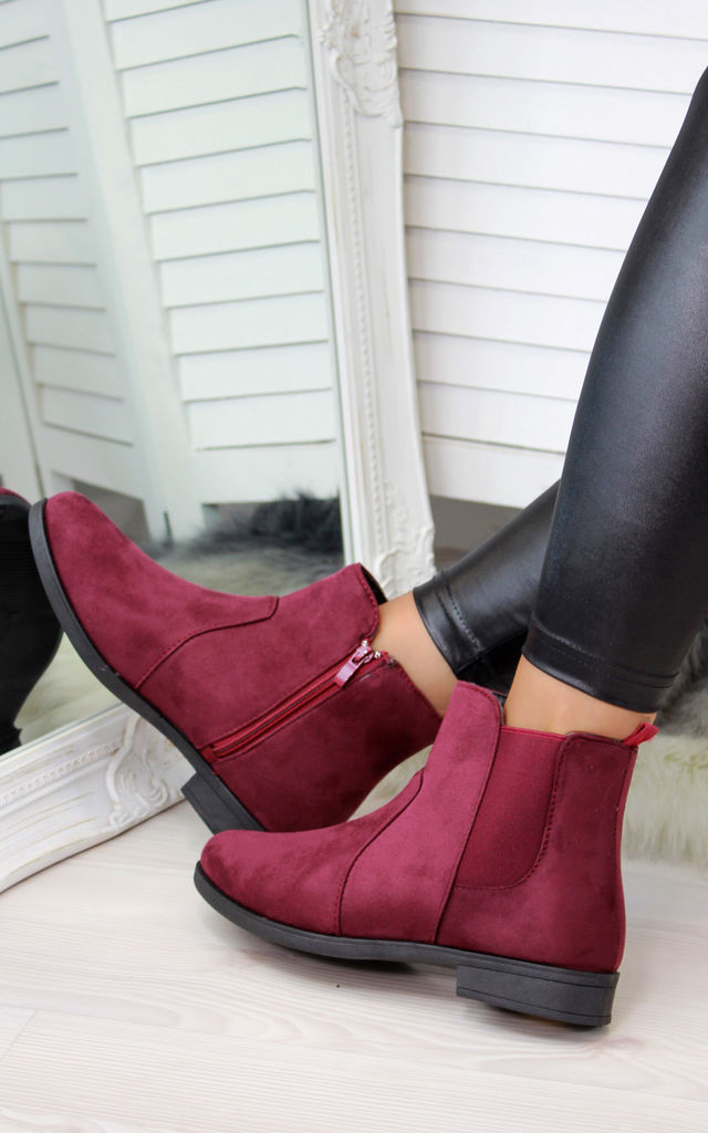 Burgundy Casual Ankle Boots by Larena Fashion