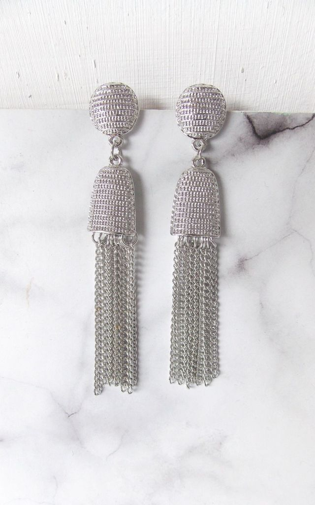 Silver Chain Tassel Earrings by Olivia Divine Jewellery