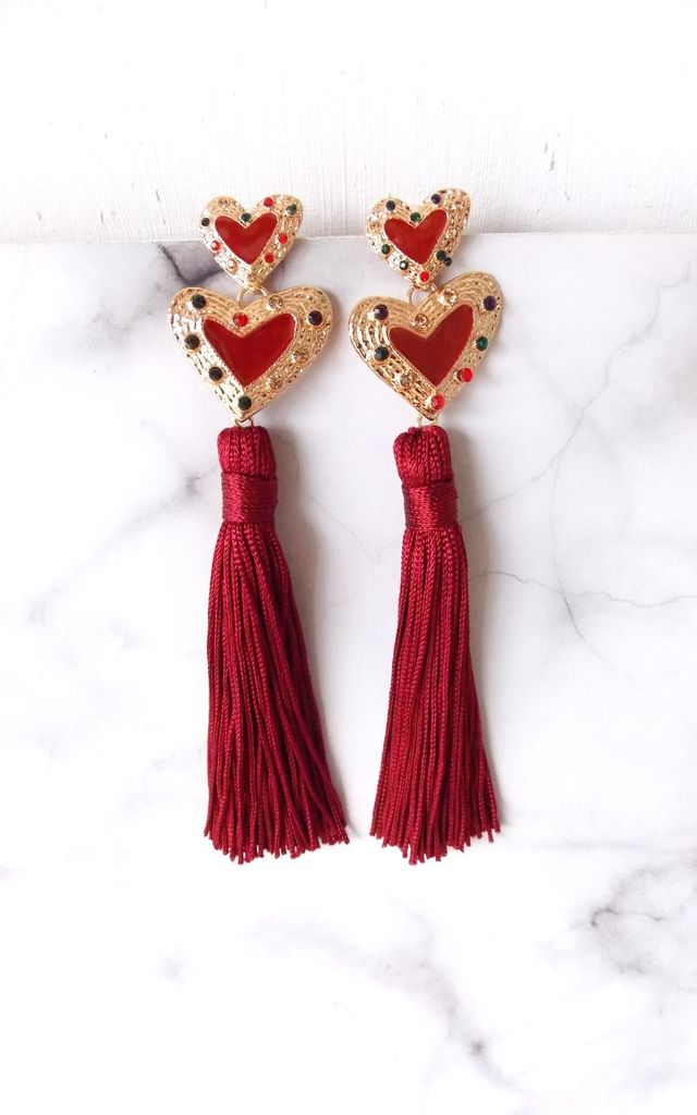 Deep Red Heart and Tassel Statement Earrings by Olivia Divine Jewellery