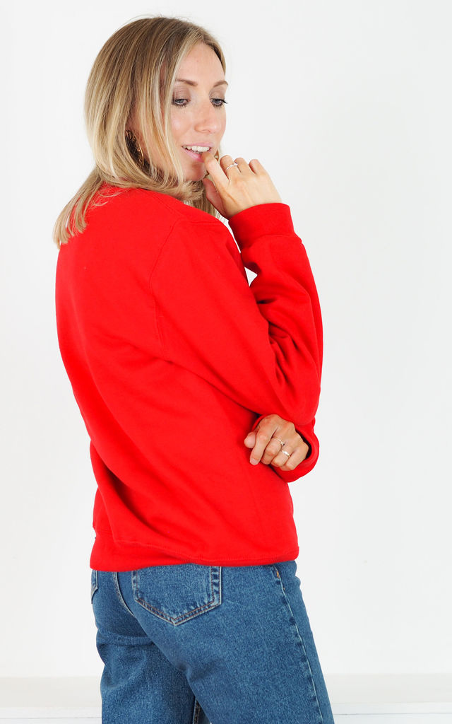 Red Oversized Sweatshirt with Dead Edgy Hun Abstract Print by Rock On Ruby