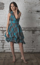 Sleeveless Trench Dress in Grey/Turquoise Tartan by Blonde And Wise