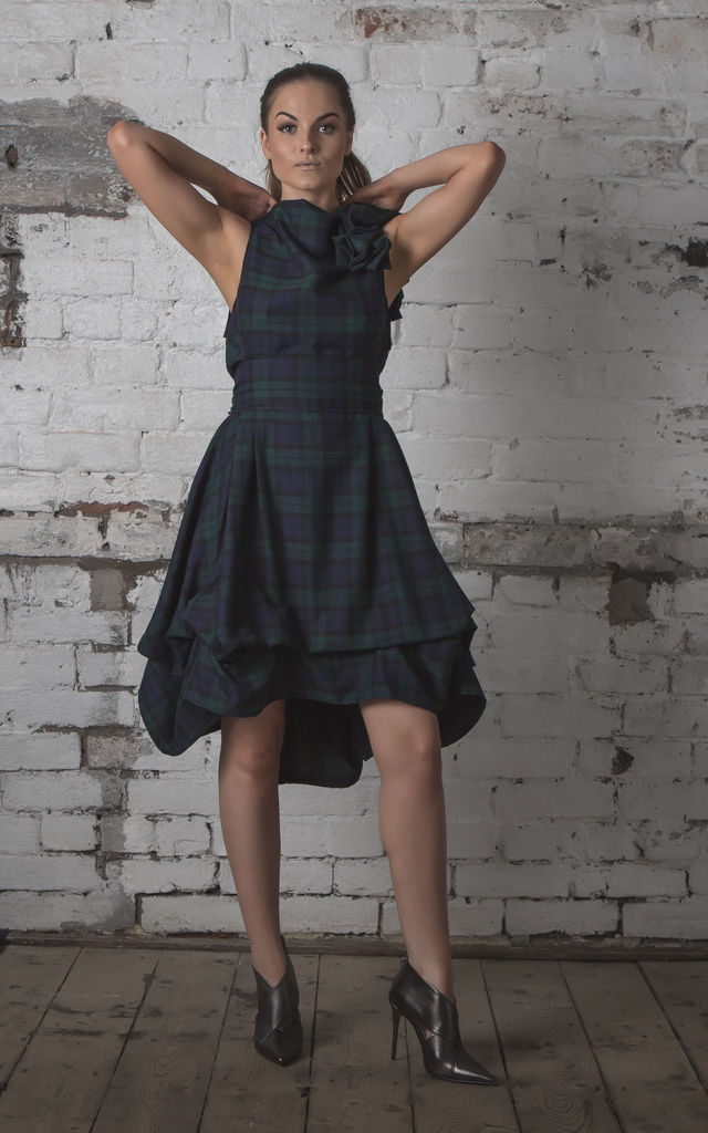 Mia Sleeveless Dress in Navy/Green Tartan by Blonde And Wise