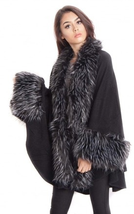 Black/White Knitted Faux Fur Trim Sleeve Poncho Cape by Urban Mist
