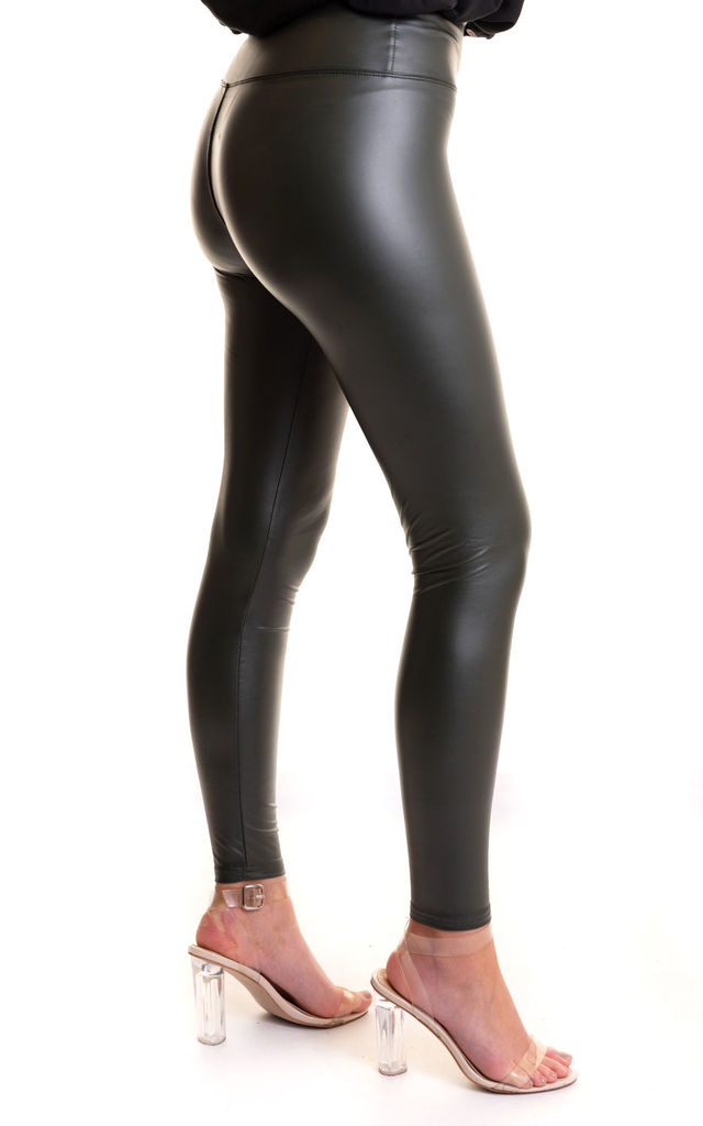 Leather look leggings Khaki by Miss Attire