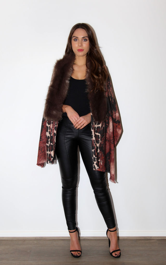 Luxury Leopard Print Wrap with Faux Fur Collar by Styled By Grazia