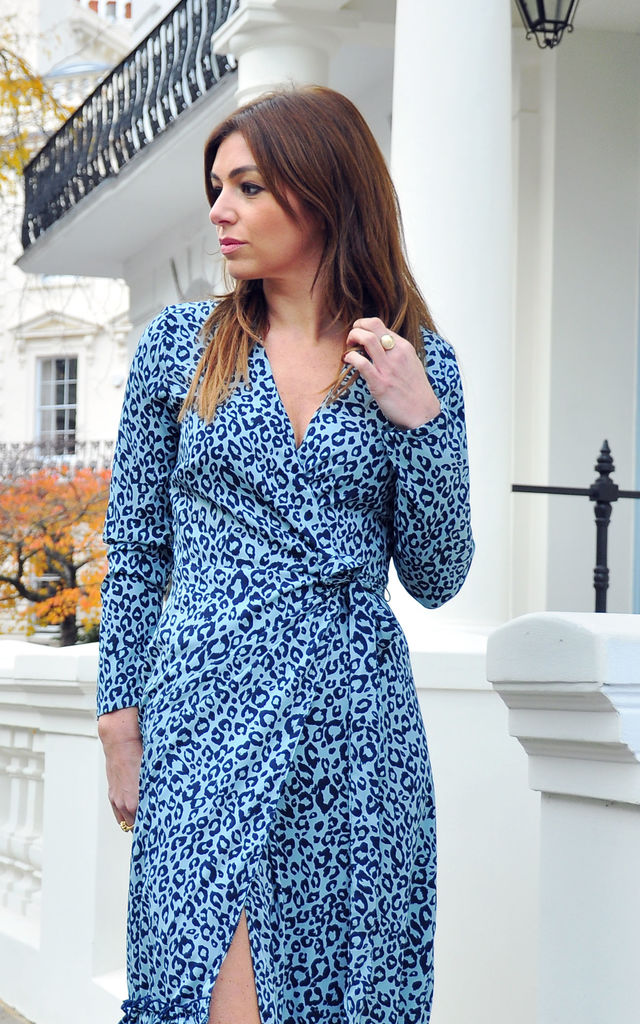 Darcy Midi Wrap Dress in Spot Cheetah by Libby Loves