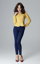 Yellow Zip-Front Jacket With Back Bow by LENITIF