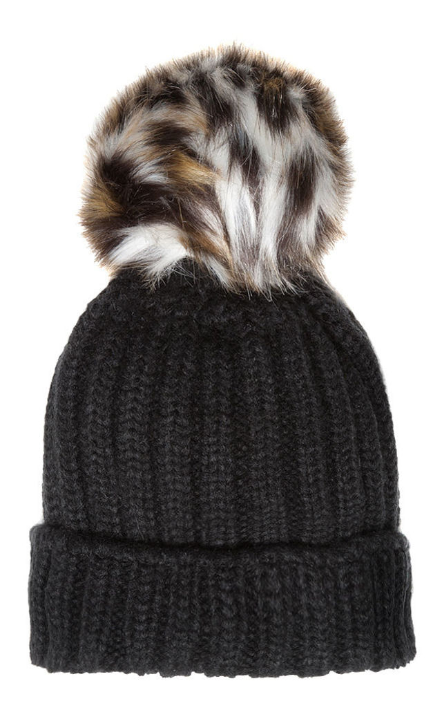 ba17835c87a ... Black Beanie with Leopard Faux Fur by Accessory O ...
