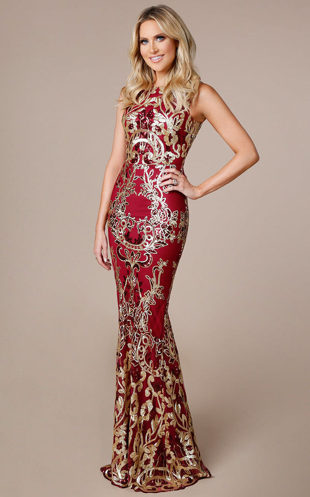 Stephanie Pratt – Sequin Occasion Maxi Dress with Scalloped Hem in Wine Red and Gold by Goddiva