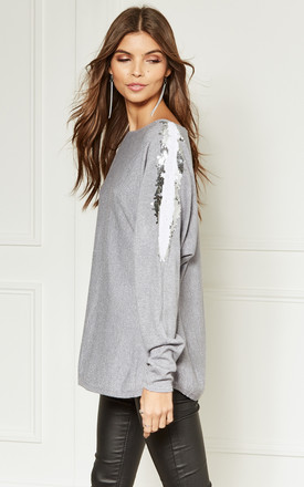 Grey Sparkle Knit Jumper With Sequin Sleeve Detail by Lilah Rose