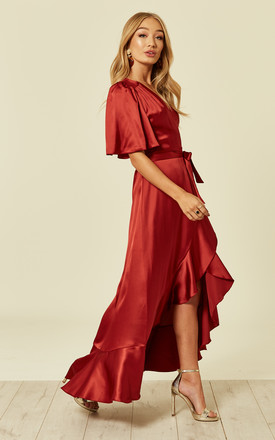 Wrap Front Maxi Dress Rust by FLOUNCE LONDON