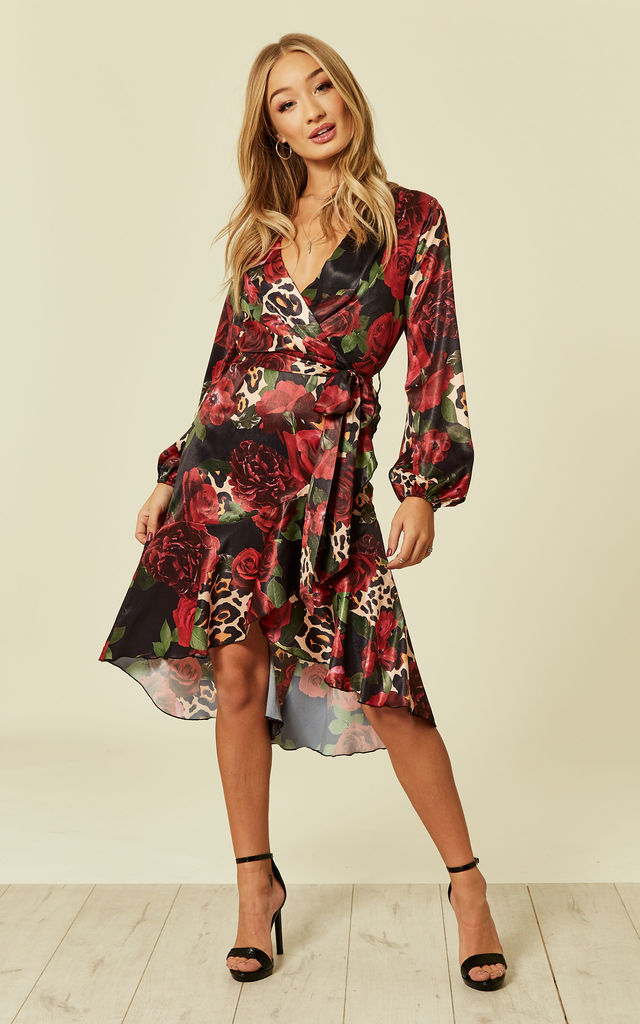 Wrap front Midi dress with Floral Leopard print by FLOUNCE LONDON