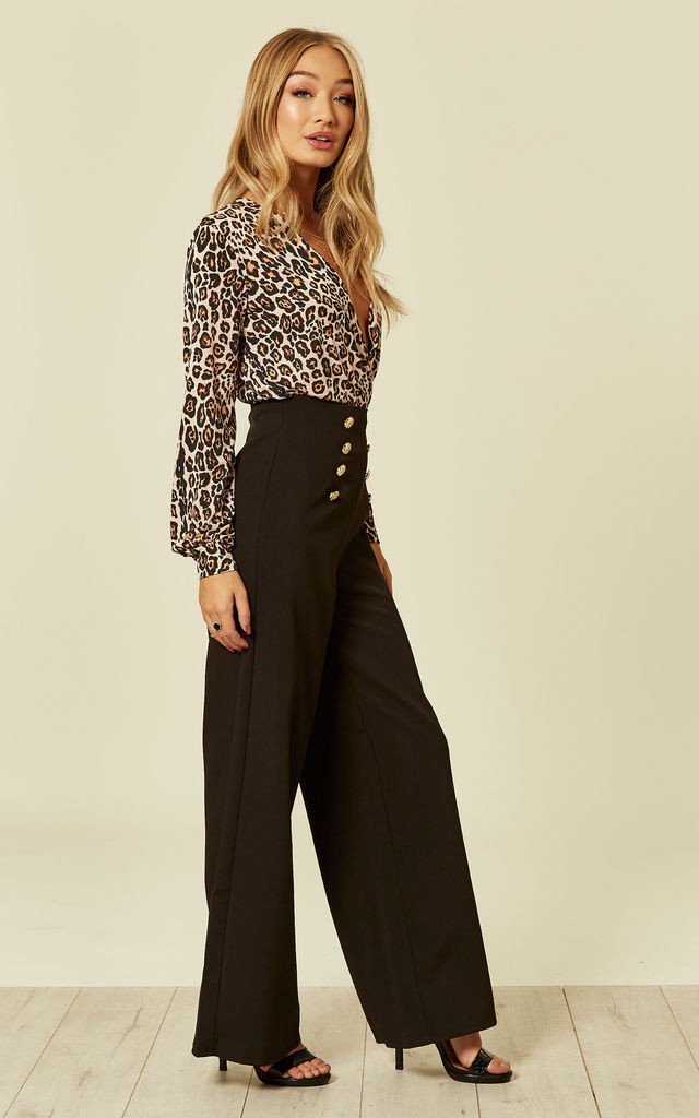 WIDE LEG TROUSER WITH GOLD BUTTON DETAIL IN BLACK by FLOUNCE LONDON