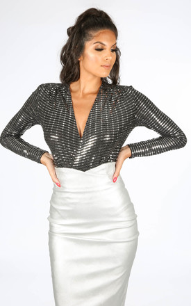 Long Sleeve Silver Embellished Bodysuit by Dressed In Lucy