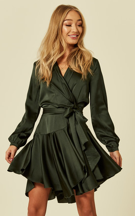 Silky Emerald Wrap Dress by Another Look Product photo