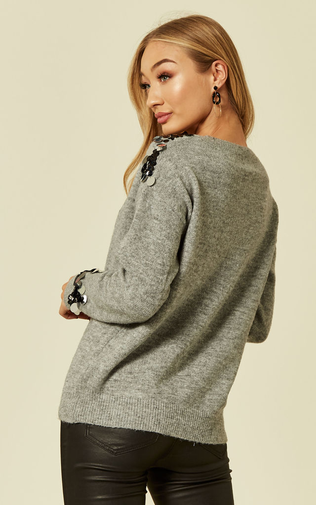SADIE – Disc Shoulder And Sleeve Detail Grey Jumper by Blue Vanilla