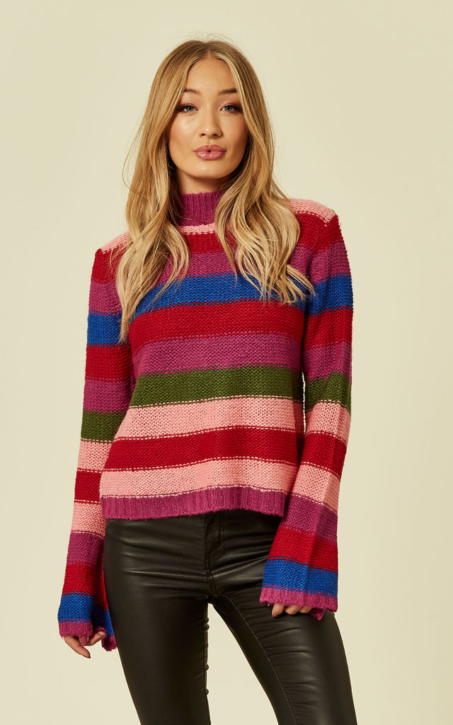 BLOSSOM – Striped Flared Sleeve Knitted Jumper by Blue Vanilla