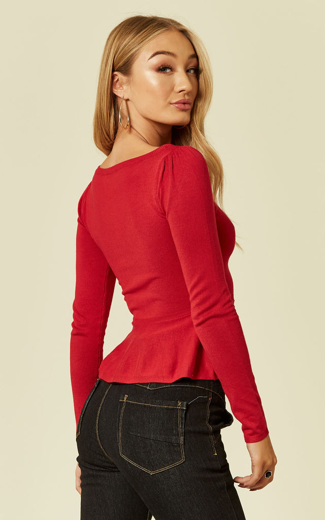 Jenni Peplum Frilled Long Sleeve Jumper in Bright Red by Collectif Clothing