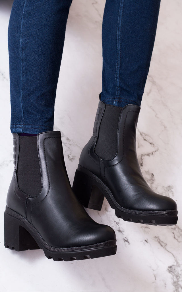 RANGER TWO Platform Block Heel Ankle Boots Shoes - Black Leather Style by SpyLoveBuy