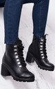 RANGER FOUR Platform Block Heel Ankle Boots Shoes - Black Leather Style by SpyLoveBuy