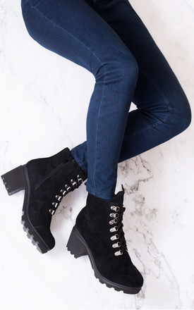 RANGER FOUR Platform Block Heel Ankle Boots Shoes - Black Suede Style by SpyLoveBuy