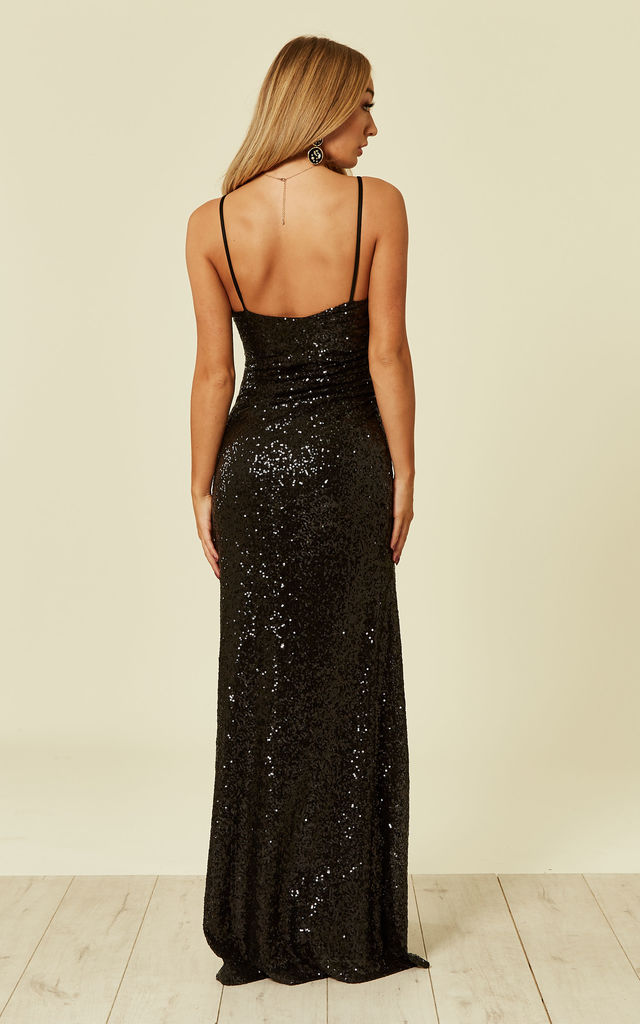 Jessica Black Maxi Sequin Dress with Front Split by Revie London