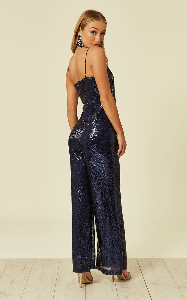 191a46cc4465 Sequin Jumpsuit in Midnight Blue by UNIQUE21