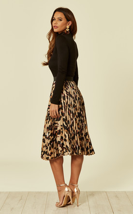 Brown Leopard Pleated Skater Skirt by Foreva Young