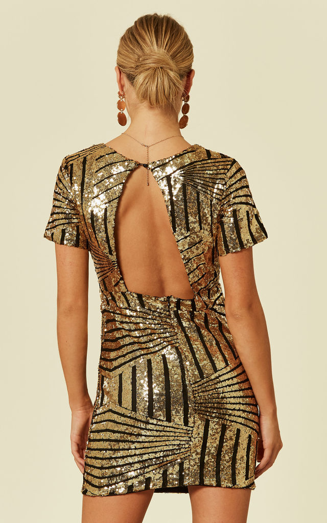 CYLIA – Gold Wrap Front Mini Sequin Dress by Blue Vanilla