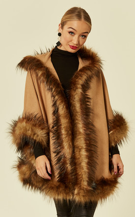 Charlotte Hooded Camel Shaped Faux Fur Trimmed Shawl Cape by Faux England