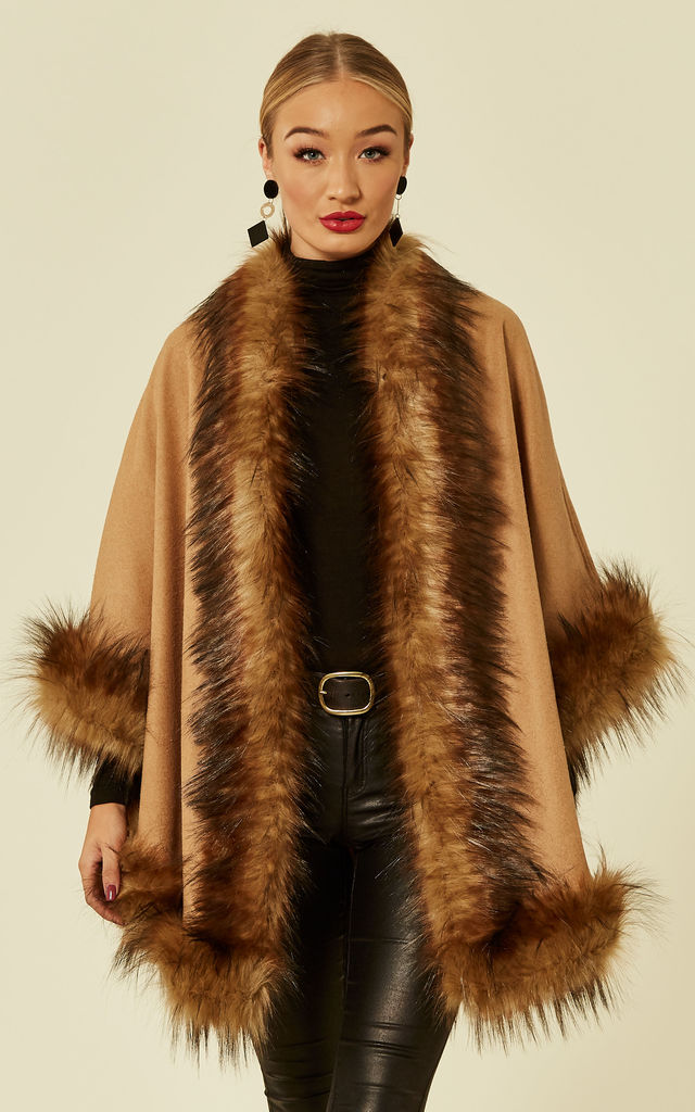 Ursula Camel Shaped Faux Fur Trimmed Shawl Cape by Faux England