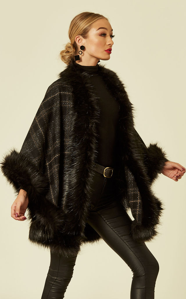 Ariana Check Wool Cashmere Shaped Faux Fur Trimmed Shawl Cape by Faux England